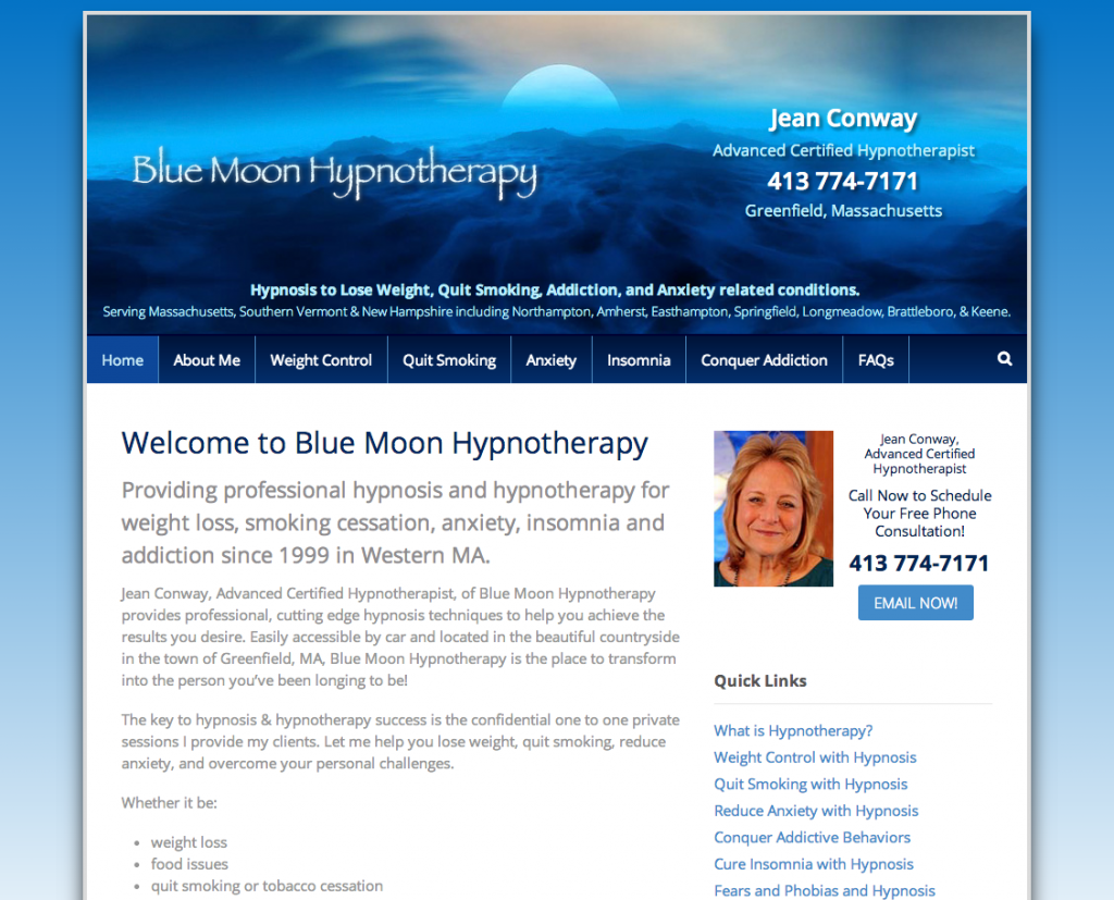 Blue Moon Hypnotherapy Website